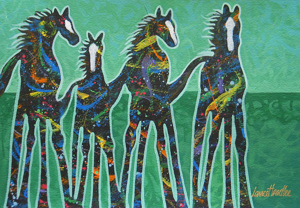 Horses Art Print featuring the painting Pony Pastures by Lance Headlee