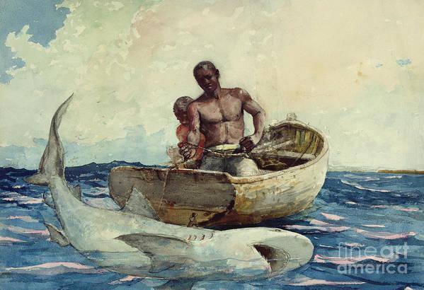 Shark Fishing Art Print featuring the painting Shark Fishing by Winslow Homer
