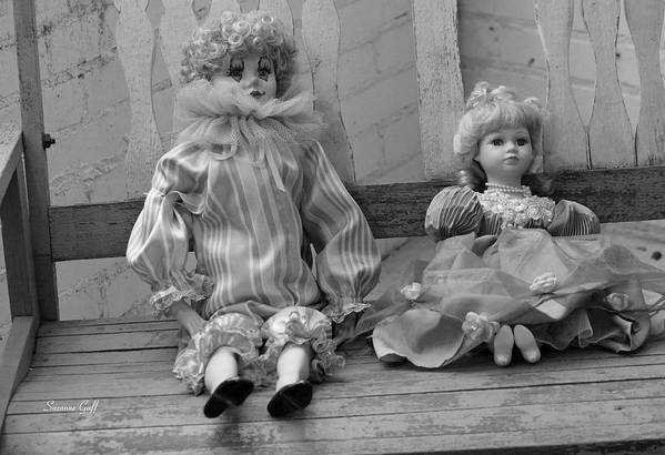 Doll Art Print featuring the photograph Sitting Pretty In Black And White by Suzanne Gaff