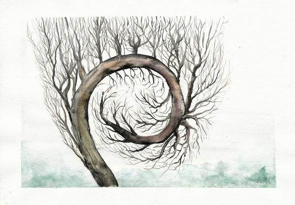 Tree Art Print featuring the painting Spiral Tree by Bjorn Eek