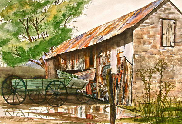 Barn Art Print featuring the painting Summer Shower by Frank SantAgata