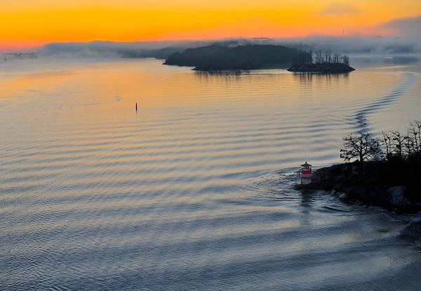 Baltic Art Print featuring the photograph Sunrise Ryssmasterna Lighthouse Sweden by Marianne Campolongo
