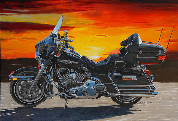 Harley Davidson Art Print featuring the painting Sunset Electraglide by Robert Gray