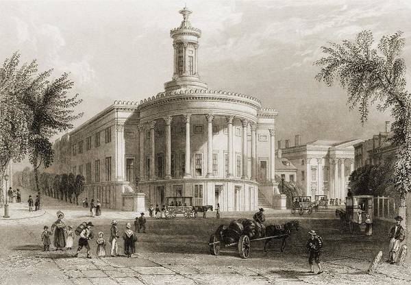 History Art Print featuring the photograph The Exchange And Girards Bank by Everett