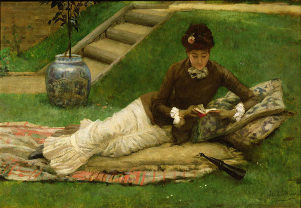 Woman;reclining;victorian;female Art Print featuring the painting The Novel by Frank Dicey