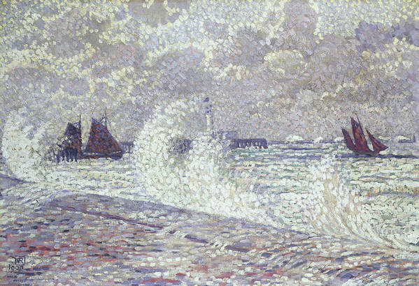 Sea Art Print featuring the painting The Sea During Equinox Boulogne-sur-mer by Theo van Rysselberghe