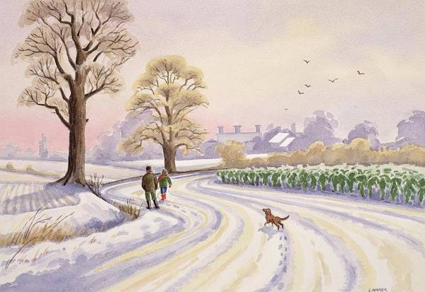 Landscape; Field; Tree; Trees; Bush; Bushes; Snow; Snow Covered; Winter; Winter Time; Road; Dog; People; Man; Child; Walking; Walk; Crop; Crops; Bird; Birds; Flying; House; Houses; Roof; Roofs; Foot Print; Foot Prints Art Print featuring the painting Walk In The Snow by Lavinia Hamer