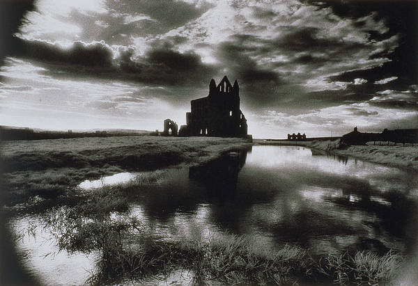 Ruin; Ghostly; Eerie; Dracula Print featuring the photograph Whitby Abbey by Simon Marsden