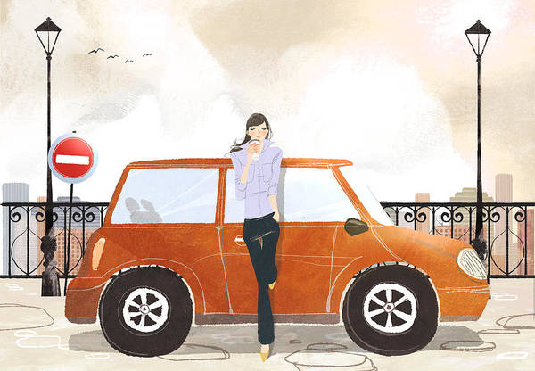 25-29 Years Art Print featuring the digital art Young Woman Standing In Front Of Car Drinking Takeaway Coffee by Eastnine Inc.