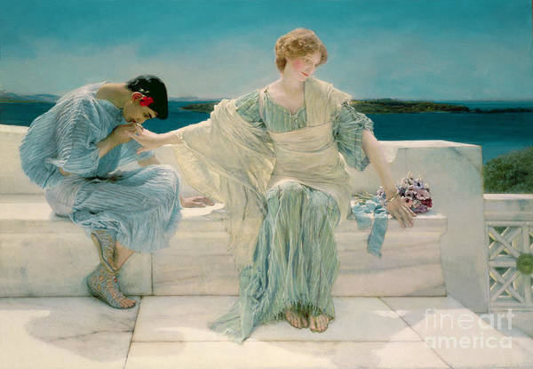 Ask Art Print featuring the painting Ask Me No More by Sir Lawrence Alma-Tadema