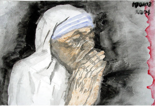 Mother Teresa Art Print featuring the painting Miracle Mother by Rooma Mehra