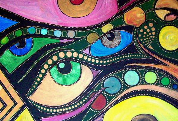 Eyes Art Print featuring the painting Never Alone by Qb Whitener