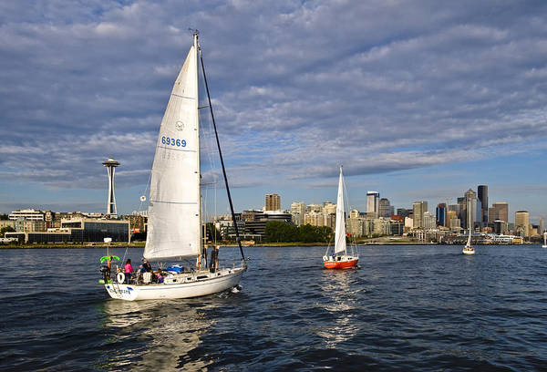 Seattle Art Print featuring the photograph Space Needle Sail By by Tom Dowd