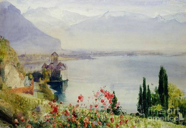 The Castle At Chillon Art Print featuring the painting The Castle At Chillon by John William Inchbold
