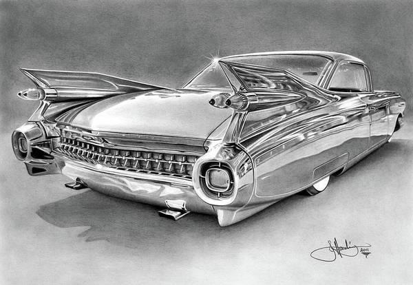 Cadillac Art Print featuring the drawing 1959 Cadillac Drawing by John Harding