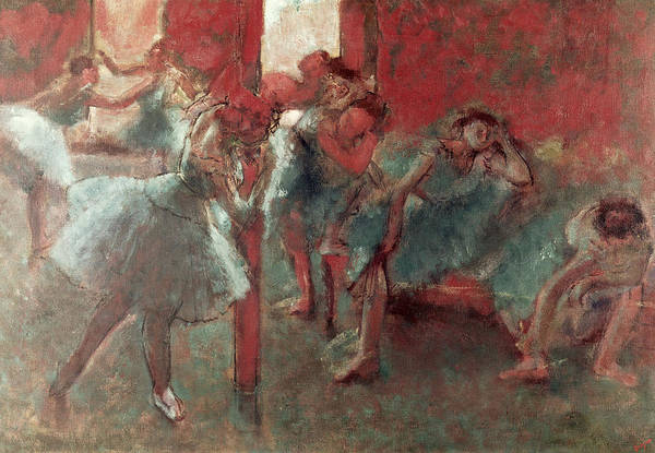 Dancers At Rehearsal Art Print featuring the pastel Dancers At Rehearsal by Edgar Degas