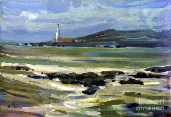 Plein Air Art Print featuring the painting Pigeon Point Light by Donald Maier