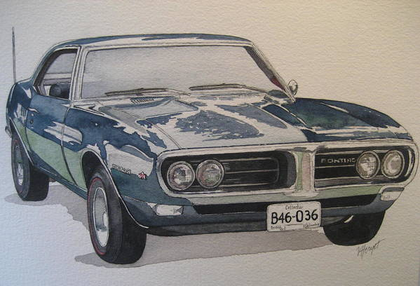 Muscle Car Art Print featuring the painting 68 Firebird Sprint by Victoria Heryet