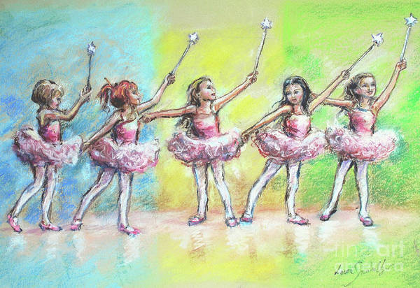 Ballet Dancers Print featuring the painting All Together Now...first Ballet Recital by Laurie Shanholtzer