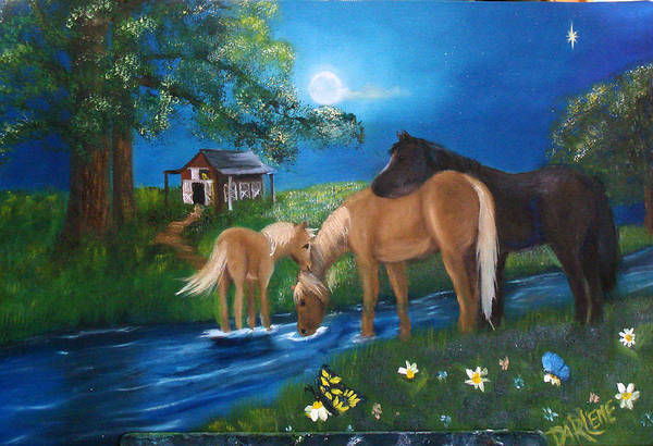 Midnight Art Print featuring the painting Alyssas Horses by Darlene Green