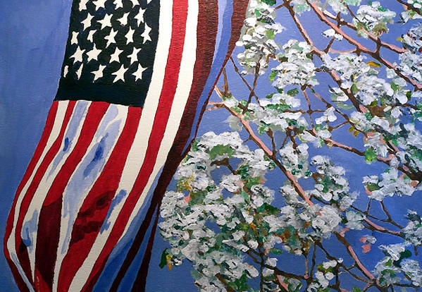 Flag Art Print featuring the painting American Spring by Jim Phillips