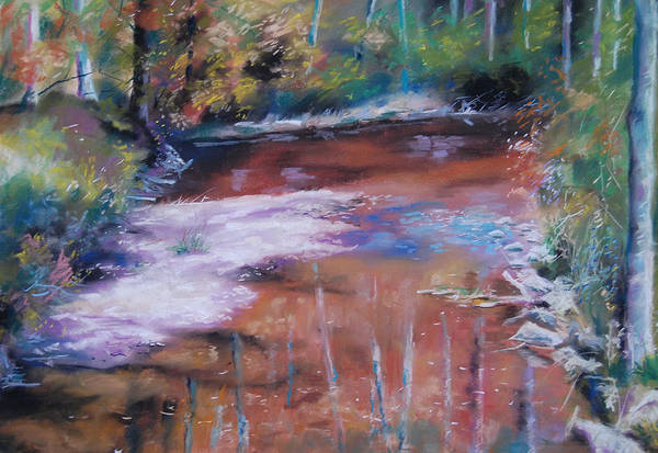Pastel Water River Art Print featuring the painting an der Rott by Johannes Baul