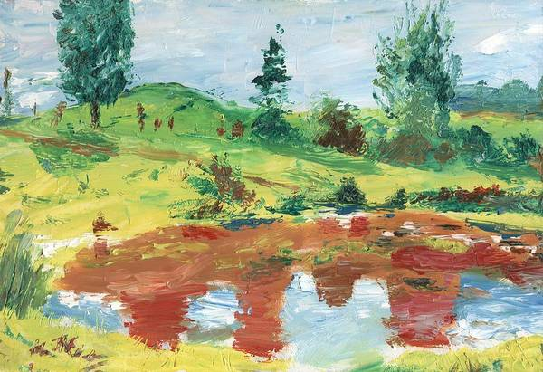 Landscape Art Print featuring the painting An Upland Meadow by Horacio Prada