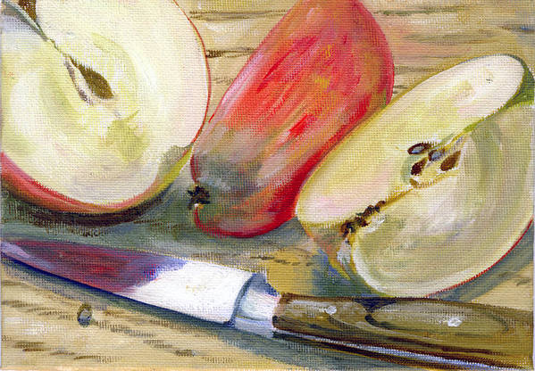 Still-life Art Print featuring the painting Apple by Sarah Lynch