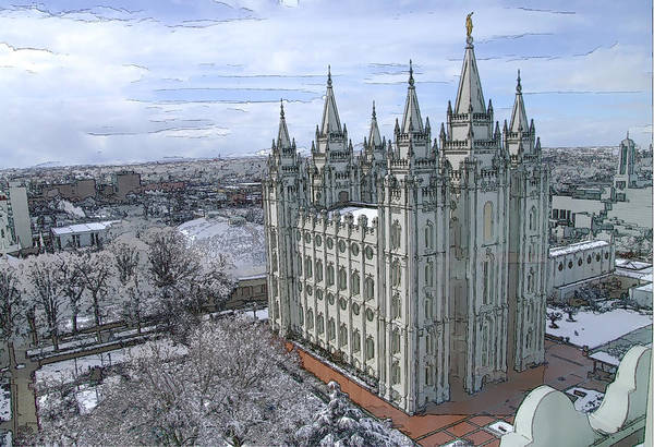 Mormon Art Print featuring the digital art Artistic Rendering Of The Salt Lake City Lds Temple by Richard Coletti