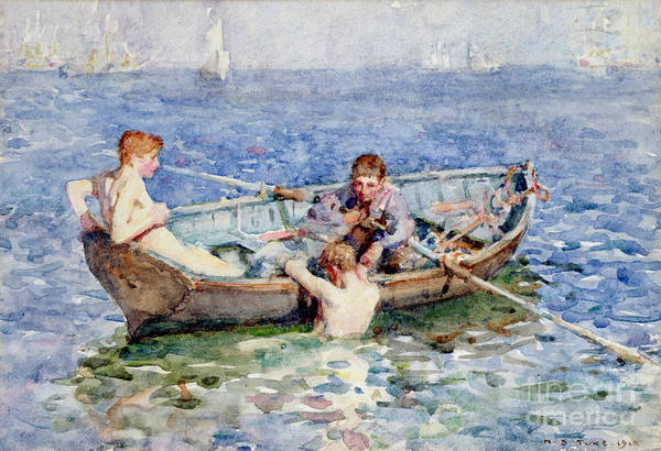 Boat Print featuring the painting August Blue by Henry Scott Tuke