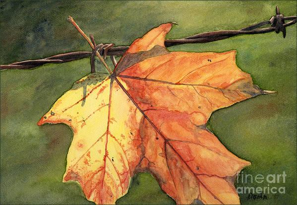 Autumn Art Print featuring the painting Autumn Maple Leaf by Antony Galbraith