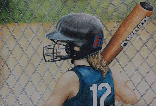 Softball Art Print featuring the painting Batter Up by Charlotte Yealey