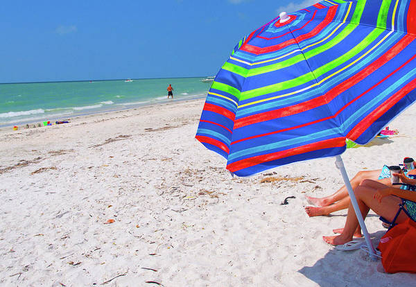 Colorful Umbrella Art Print featuring the photograph Beach Umbrella by Carol McCutcheon