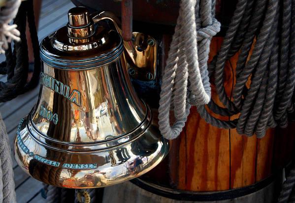 Schooner Art Print featuring the photograph Bell On Schooner Virginia by Gene Sizemore