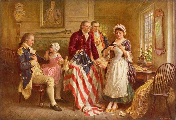 Betsy Ross Art Print featuring the painting Betsy Ross 1777 by Jean Leon Gerome Ferris