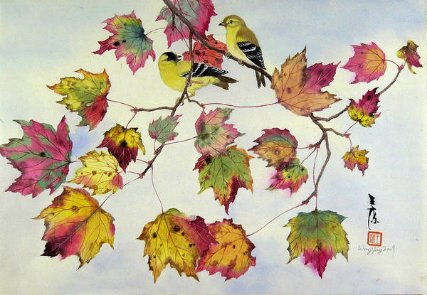 Bird Art Print featuring the painting Birds On Maple Tree 10 by Ying Wong
