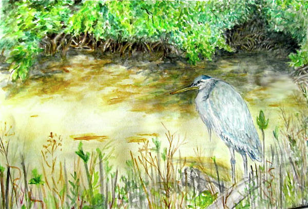 Bird Art Print featuring the painting Blue Heron by Judy Riggenbach