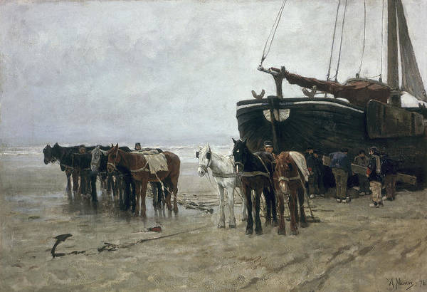 Boat Print featuring the painting Boat On The Beach At Scheveningen by Anton Mauve