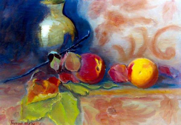 Still Life.brass Art Print featuring the painting Brass And Peaches by Jeanene Stein