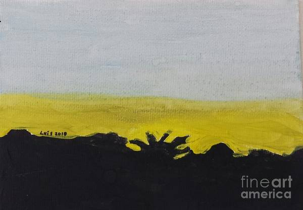 Landscape Art Print featuring the painting California Sunset by Epic Luis Art