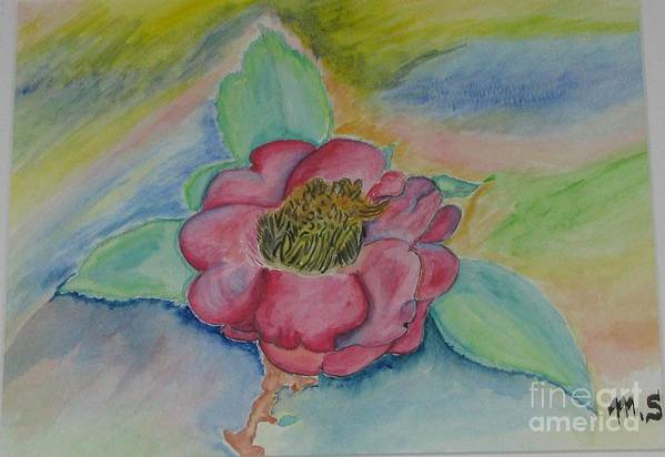 Flower Art Print featuring the painting Camellia by Mark E Smith