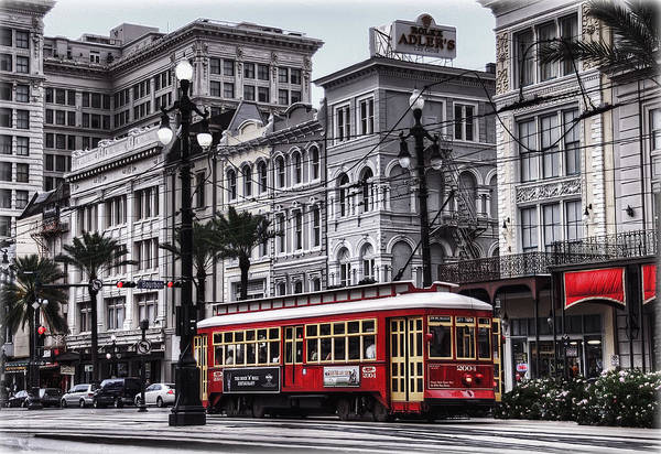 Nola Art Print featuring the photograph Canal Street Trolley by Tammy Wetzel