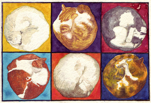 Cat Art Print featuring the painting Cat Planets by Julia Collard