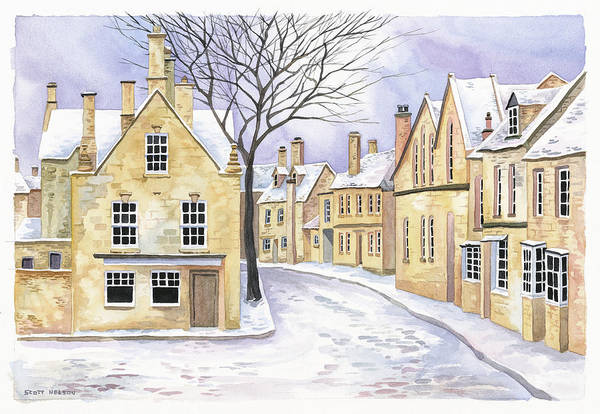 Chipping Campden Art Print featuring the painting Chipping Campden In Snow by Scott Nelson