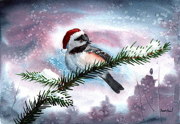 Birds Art Print featuring the painting Christmas Chic by Sean Seal