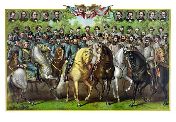 Civil War Art Print featuring the painting Civil War Generals And Statesman by War Is Hell Store