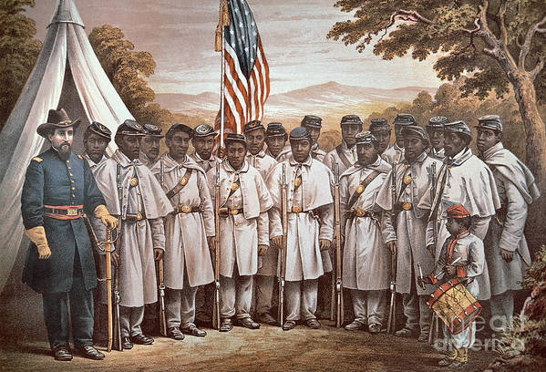 Recruitment; American Civil War; Volunteer; Soldiers; Soldier; Army; Uniform; Flag; Stars And Stripes; General; Drummer; Negro; African-american; Us; Usa; Recruiting; Advertisement; Advert; Propaganda; African American Art Print featuring the painting 'come And Join Us Brothers' by American School