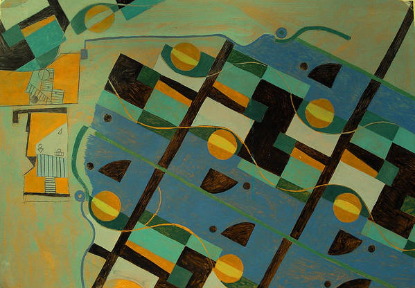 Abstract Art Art Print featuring the painting Composition Xxi 07 by Maria Parmo