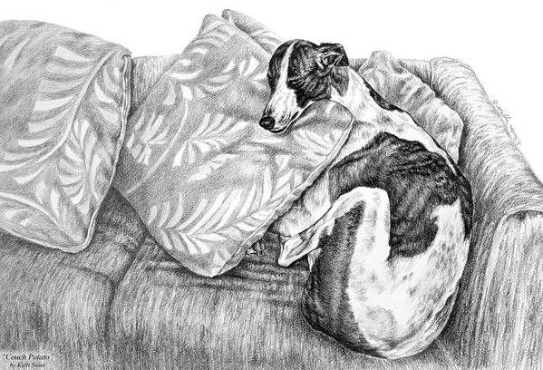 Greyhound Art Print featuring the drawing Couch Potato Greyhound Dog Print by Kelli Swan