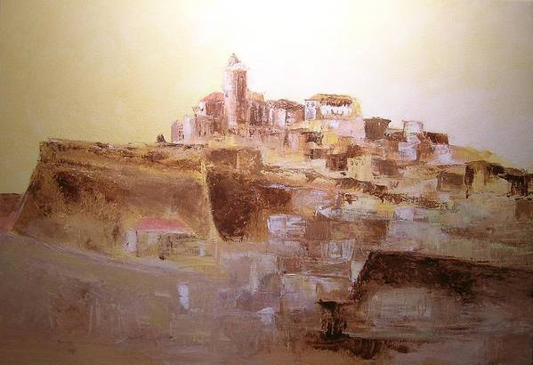 Original Cityscpae Art Print featuring the painting D Alt Vila Ibiza Old Town by Lizzy Forrester